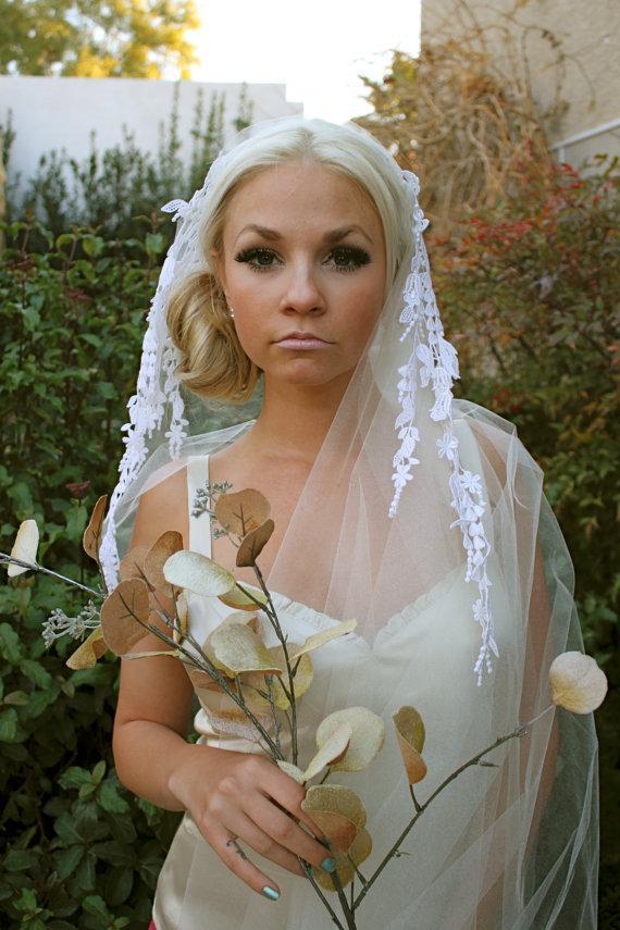 Hochzeit - Floral Lace Danglings,  Bridal Cap Veil, Dangling lace motifs on Bridal Cap Veils by VegasVeils