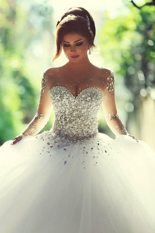White Wedding Dress With Sheer Long Sleeves Beaded Crystals Wedding ...