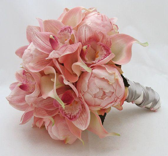 Wedding - Bridal Bouquet Peonies Calla Lilies Cymbidium Orchid Pink Groom's Boutonniere Wedding Bouquet Silk Flower Pink Peonies Callas Orchids
