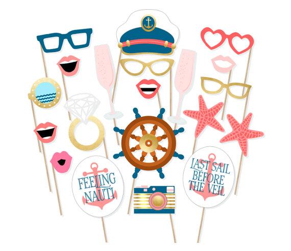 Mariage - Printable Nautical Bachelorette Photo Booth Props - Last Sail Before the Veil Photo Props - Nauti Bride - Feeling Nauti Photo Props