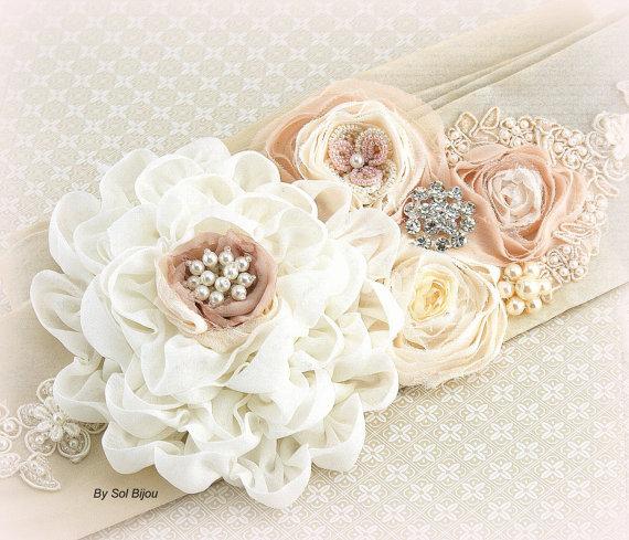 Hochzeit - Sash, Wedding, Bridal, Ivory, Tan, Beige, Champagne, Blush, Chiffon, Silk, Pearls, Crystals, Vintage, Gatsby Wedding