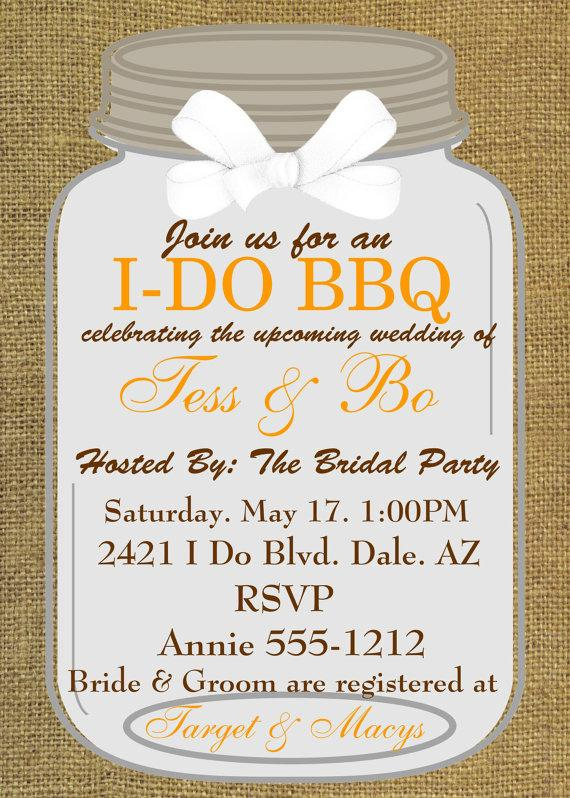 Bridal Shower Invitations Engagement Party I Do BBQ Couples Shower