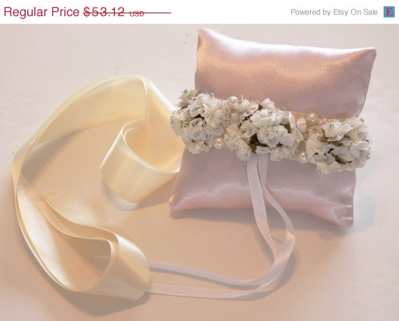 Mariage - Light Pink Pillow Ring for Dogs, Ivory White Flowers on pink Pillow, Wedding Dog Accessory, Ring Bearer Pillow