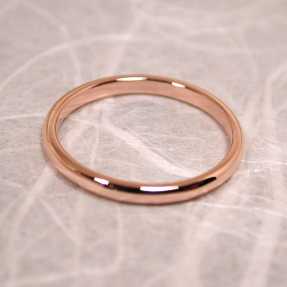 size 6 band 14k wedding ring gold delicate blush pink