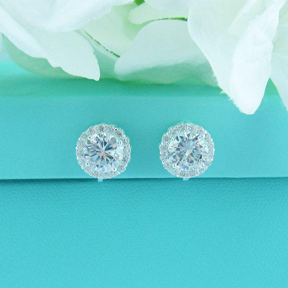 Clip On Earrings Cz Stud Pave Cubic Zirconia Wedding Jewelry Bridal Teardrop