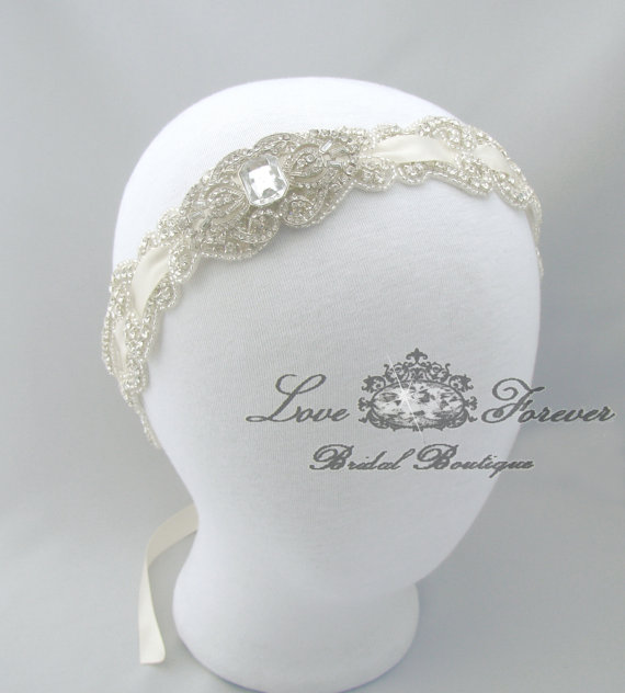 Wedding - Crystal Rhinestone Headband, Wedding White / Ivory / Champagne / Black / 35 Color Choices, Satin Ribbon, Bridal Jeweled Head Piece