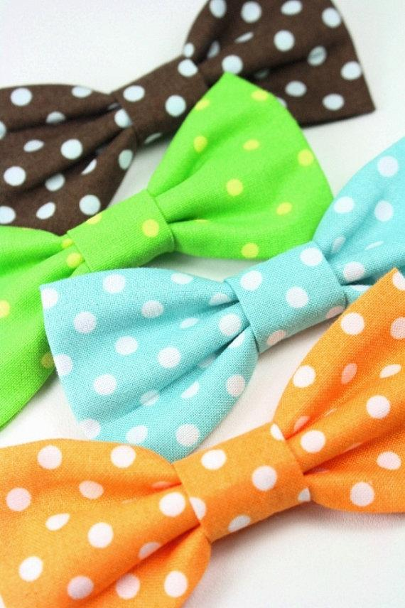 Wedding - Polka Dot Cat Bowtie Mint Blue Dog Bow Tie Green Orange Removable Formal Wedding