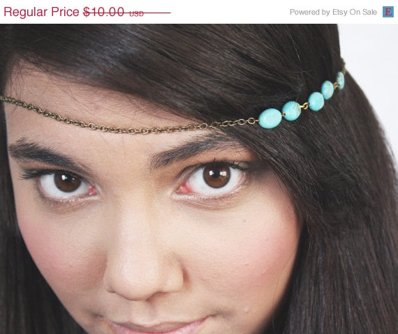 Mariage - HALFOFF CLOSING sale Chain Headpiece Headband Hair Piece Bohemian Hipster Boho Hippie Bronze Turquoise Bridal Statement Jewelry Single Stran