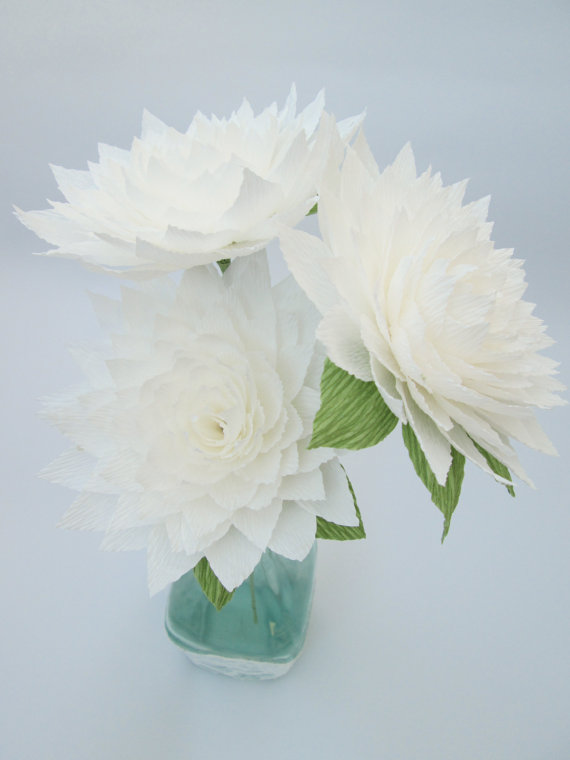 Paper Dahlia White Dahlia Paper Flowers Wedding Decoration
