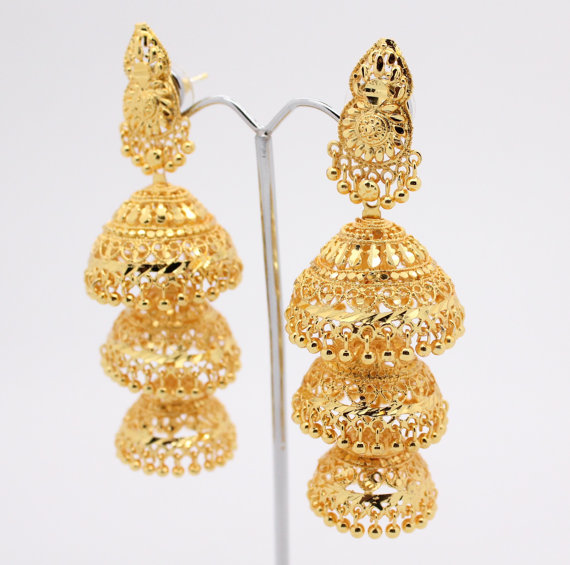 Vintage Indian Bollywood Drop Dangle Artificial Gold Chandelier