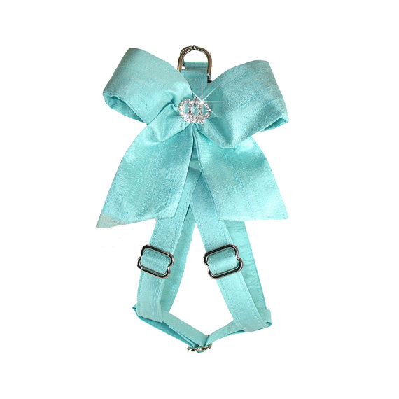 Hochzeit - Any Color - Crown Bow Silk Step In Dog Harness