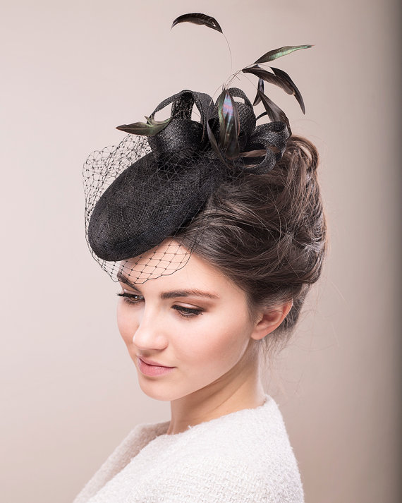 Black Cocktail Hat With Feathers And Birdcage Veil 7ff03de3a10