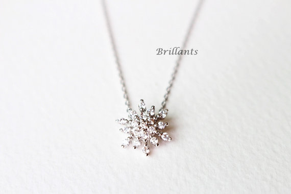 Sparkling Zircon Snowflake Necklace In Silver Zircon Necklace