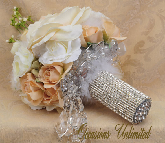 Hochzeit - Bridal Bouquet in whites and creams Rhinestone bouquet cuff Groom boutonniere included