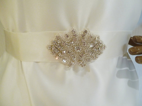 Mariage - Bridal Rhinestone Sash, Crystal Sash, Bridal Belt, Wedding Sash, Bridesmaid Sash