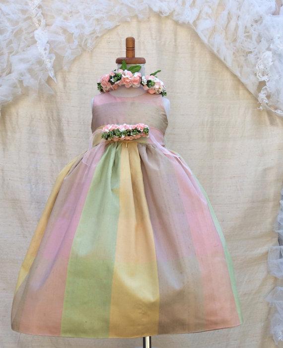 Mariage - Silk Flower girl Dress /Birthday Dress /Plaid Tea Party Dress / Photography Prop/ Denice Style