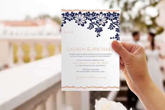 Navy And Peach Wedding Invitations: DiY Wedding Invitation Template