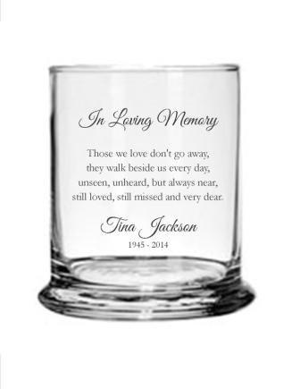 Mariage - Personalized Engraved Memorial Glass Candle Holder/Vase