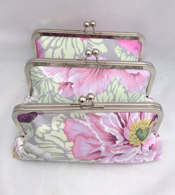 Mariage - Set of (3) Floral Clutches for Bridesmaids Gift Floral fabric in shades of pink and purple the Wedding Party Gift or Bridesmaids Handbag