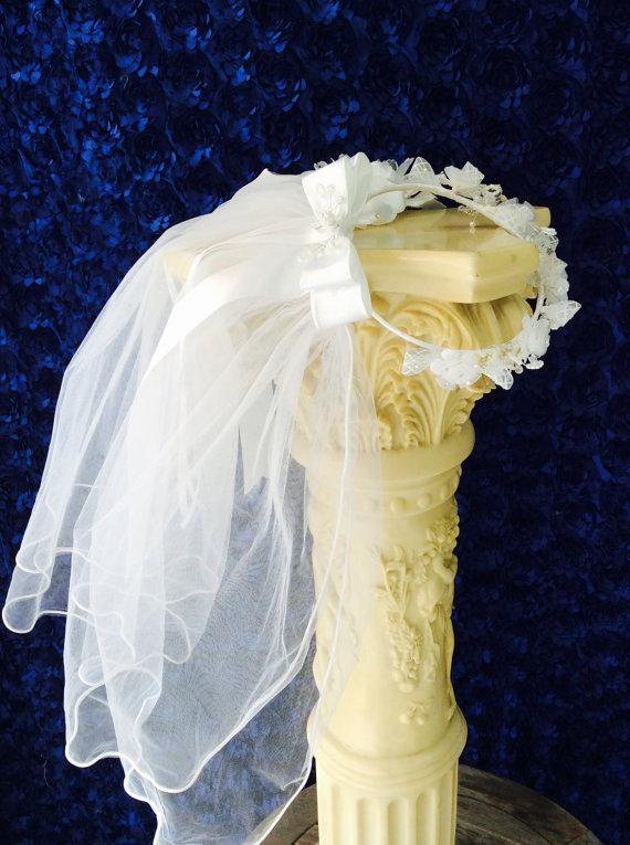 Mariage - Communion veil# Communion Accessories# Hand made Veil# White communion veil# Flower Crown by Elena