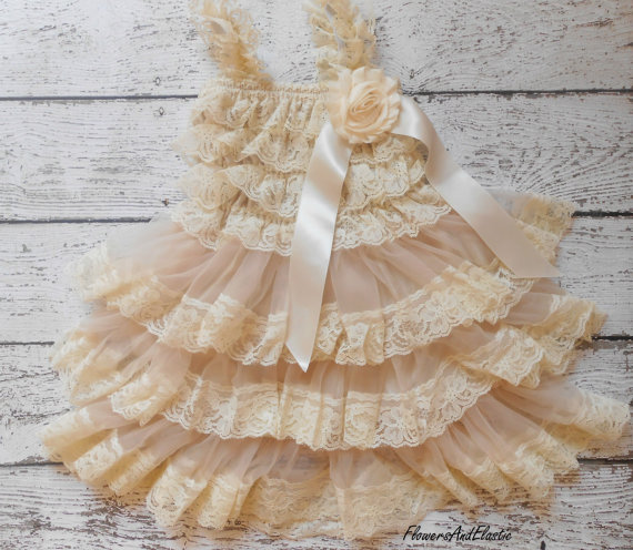 Mariage - Medium Size, Beige lace Dress , and set,Lace Flower girl dress ,Baby Lace Dress,Lace Dress, Ivory Lace dress