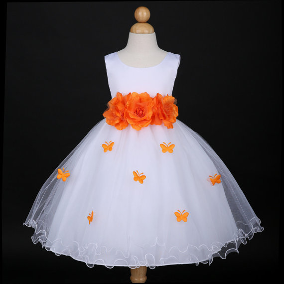 White with orange butterfly petal baby infant easter party wedding white with orange butterfly petal baby infant easter party wedding flower girl dress 6m 12m 18m 2 4 6 8 10 f14wh mightylinksfo