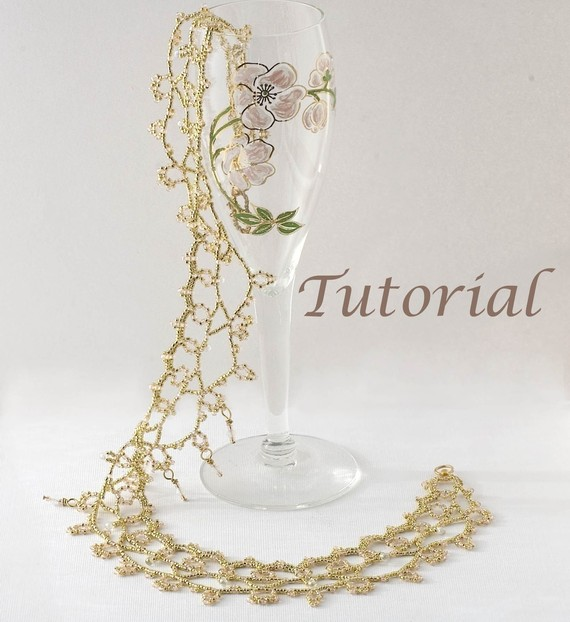 Mariage - Beaded Necklace Tutorial Moonlight Lace Collar Digital Download