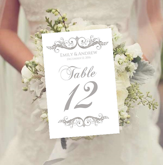 wedding table numbers template instant download charcoal gray