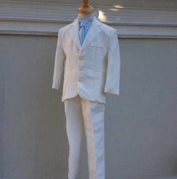 Wedding Ivory Linen Ring Bearer Boy Suit//first Communion Suit ...