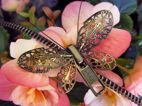 زفاف - Steampunk Butterfly Zipper Necklace - Chain Necklace - Steampunk Jewelry