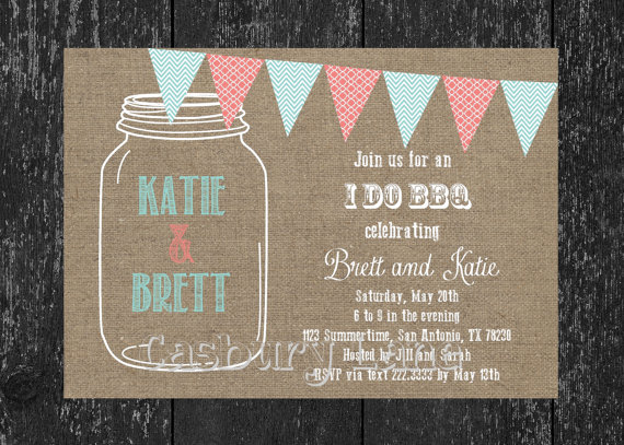 Printable Invitation NEW I Do BBQ Engagement Party Mason Jar Casbury Lane