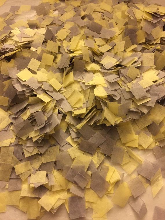 Mariage - Wedding Confetti / Biodegradable Confetti / Yellow and Grey Confetti / Bio-degradable Confetti / Yellow and Gray Wedding Decor