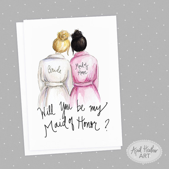 Mariage - Maid of Honor PDF Download Blonde Bride, Black Bun Will you be my Maid of Honor PDF printable card