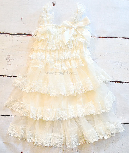 Mariage - Flower Girl Lace Dress, Ivory Flower Girl tutu Dress, Lace, White Flower Girl Dress