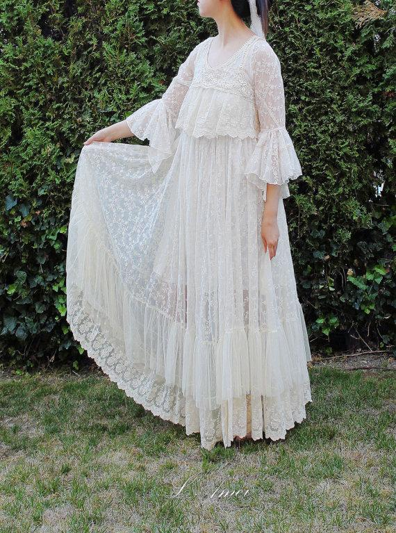 Mariage - Custom Made Vintage Style Long Sleeve Lace Wedding Dress Gown for Boho Wedding