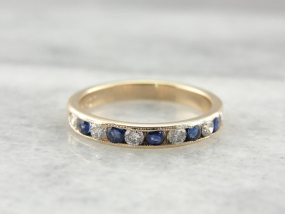 Mariage - Fine Sapphire and Diamond Band for Wedding, Anniversary or Stacking 4AH451-P