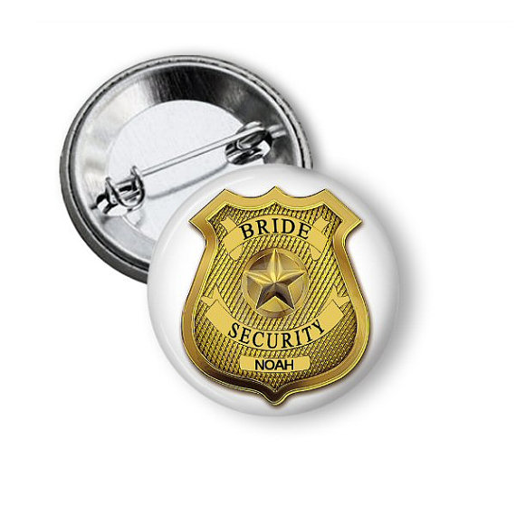 Свадьба - Bride Security Pinback Button Personalized