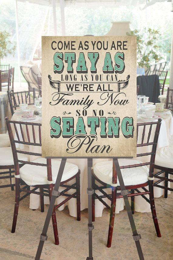 Mariage - No Seating Plan Wedding Sign with Custom Accent Color