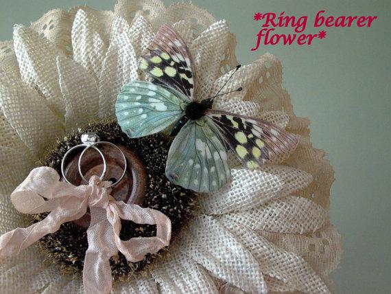 Mariage - Ring bearer pillow, Alternative ring bearer, Sunflower, Country wedding, Rustic wedding, ivory, blush, pink wedding, flower girl, photo prop