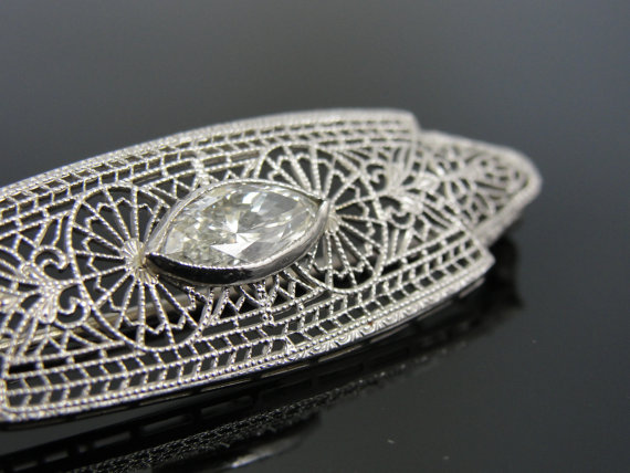 Mariage - Outstanding Mother of the Bride Brooch with One Carat Diamond Center, Art Deco Antique CDXM01-N