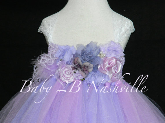 Mariage - Flower Girl Tutu Dress Floral Lavender and Lilac Wedding  Flower Girl Dress  All Sizes Girls