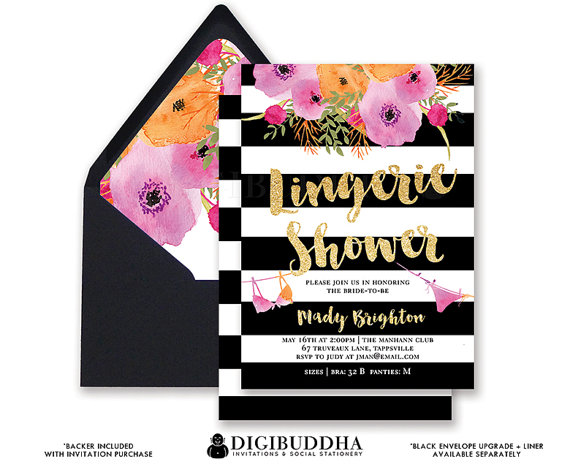 dccbd7f31 BLACK   WHITE LINGERIE Shower Invitation Stripes Gold Glitter Modern  Watercolor Flowers Bridal Free Priority Shipping or DiY Printable- Mady