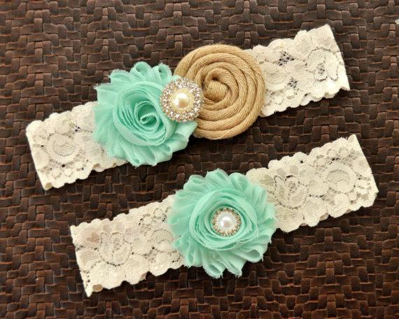 Свадьба - Rustic Wedding Garter Set, Burlap Bridal Garter Set, Mint Wedding Garter, Mint Bridal Garter, Mint Garter Belt, Mint Burlap Garter