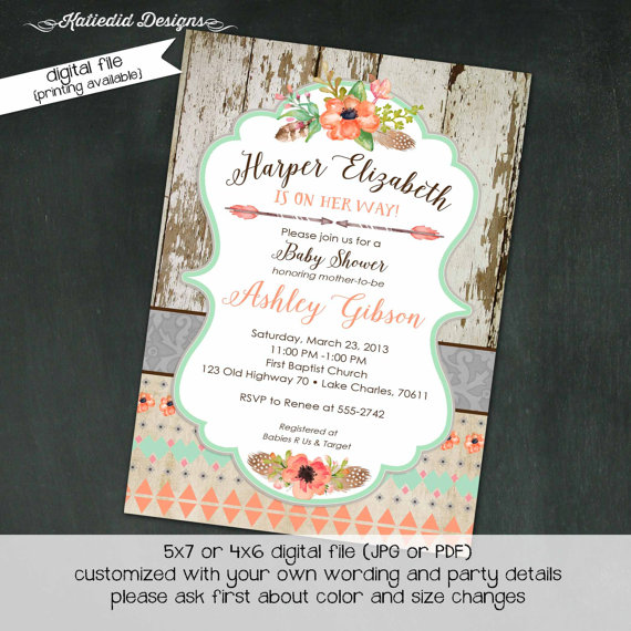 Tribal Baby Shower Invitation BOHO Bridal Wedding Arrows Feathers Wood Gender Neutral Reveal Item 1445 Shabby Chic Invitations