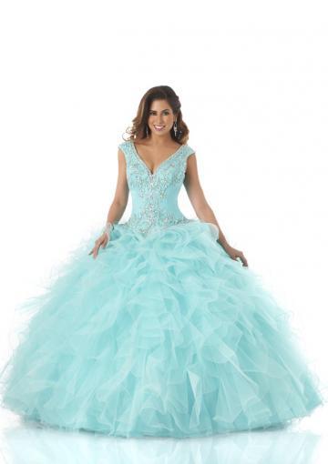 Hochzeit - Buy Australia 2015 Mint Ball Gown Beaded Cascading Ruffles Organza Skirt Floor Length Quinceanera Dress/ Prom Dresses 5539 at AU$332.13 - Dress4Australia.com.au