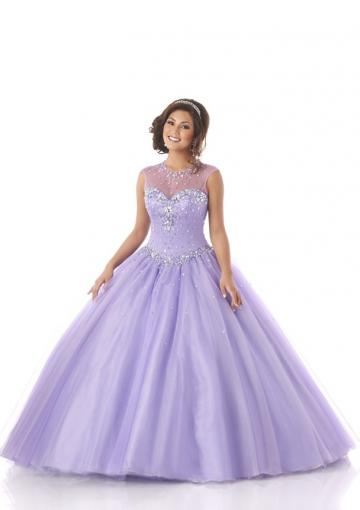 Buy Australia 2015 Lilac Ball Gown Scoop Neckline Beaded Tulle ...