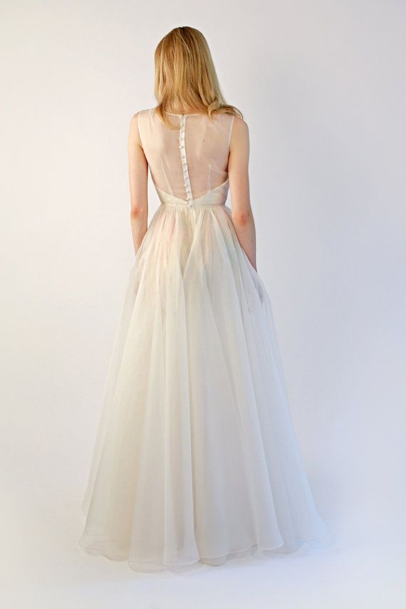 Wedding - Watercolor Organza Illusion Top Gown - Margeaux