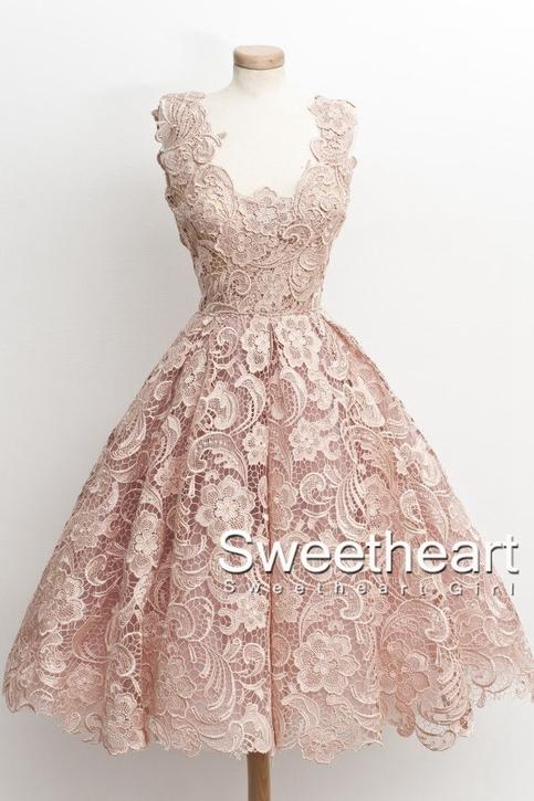 Wedding - A-line Short Lace Homcoming Dress, Lace Prom Dress from Sweetheart Girl