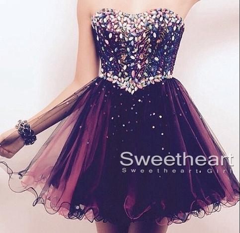 Hochzeit - Sweetheart A-line Tulle Short Prom Dress,Homecoming Dresses from Sweetheart Girl
