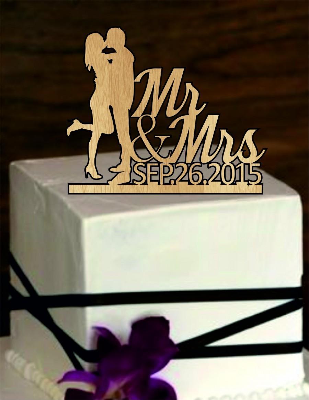 Wedding - Rustic Wedding Cake Topper, custom Cake Topper, personalized Cake topper, Bride, Groom, Silhouette cake topper; deer cake topper, monogram